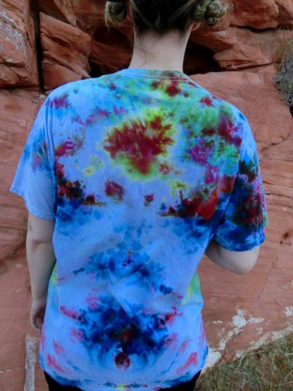 O21 - Adult Extra-Large Tie Dye T-shirt - XL - Green purple and orange burst pastel purple