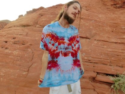 O22 - Adult Extra-Large Tie Dye T-shirt - XL - Blue and orange circle bursts with pink