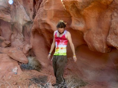 O29 - Adult Large - L - tie-dye tank top - Red Yellow and Green