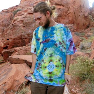 O35 - Adult 3XL Tie-Dye T-shirt - 3XL - Green blue yellow purple serene tie dye tee plus size boho hippie tumblr vaporwave alternative