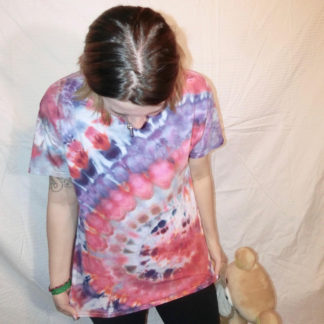 O64 - Adult Large Tie Dye T-shirt - L - Peach pink and purple pastel goth ice dye tee hippie boho bohemian trippy vaporwave psychedelic