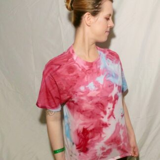 O76 - Adult Large Tie Dye T-shirt - L - Pink and blue abstract pastel goth ice dye tee hippie boho bohemian vaporwave grunge festival