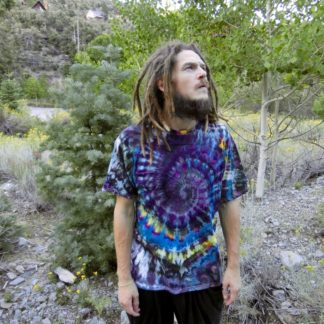 P13 - Adult Large Tie Dye T-shirt - L - Purple blue and green spiral ice dye tee hippie boho bohemian trippy vaporwave