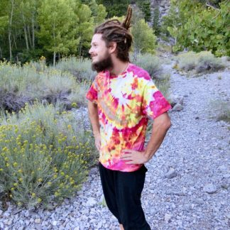 P15 - Adult Large Tie Dye T-shirt - L - Pink yellow red grey solar flare ice dye tee hippie boho bohemian trippy vaporwave