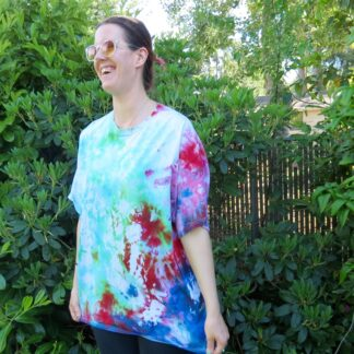 Q01 - Adult 2XL Tie-Dye T-shirt - 2XL - Blue green red pink tee plus size boho hippie tumblr vaporwave alternative pastel goth