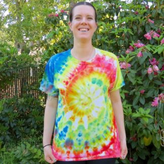 Q15 - Adult Large Tie Dye T-shirt - L - Red yellow green and blue spiral psychedelic ice dye tee hippie boho bohemian trippy vaporwave