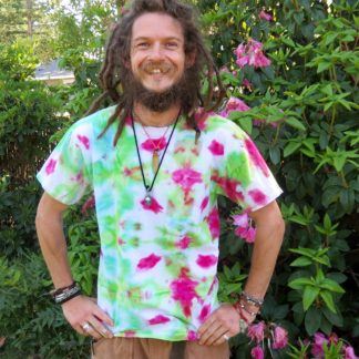 Q16 - Adult Large Tie Dye T-shirt - L - Green and pink watermelon abstract psychedelic ice dye tee hippie boho bohemian trippy vaporwave