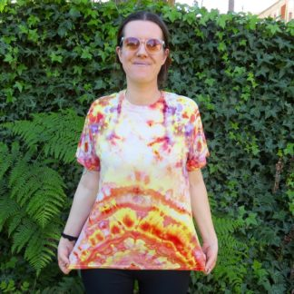 Q24 - Adult Large Tie Dye T-shirt - L - Orange purple pink minimalist abstract psychedelic ice dye tee hippie boho bohemian trippy vaporwave