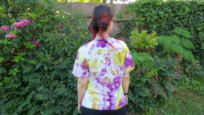 Q25 - Adult Large Tie Dye T-shirt - L - Purple yellow minimalist abstract psychedelic ice dye tee hippie boho bohemian trippy vaporwave